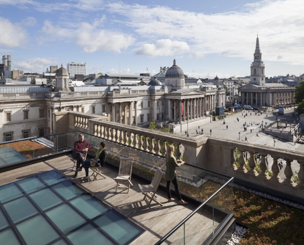 A newly created outdoor terrace on the roof includes both a green roof and a green wall, and arguably one of the best views of Central London. Photo by Ben Blossom.