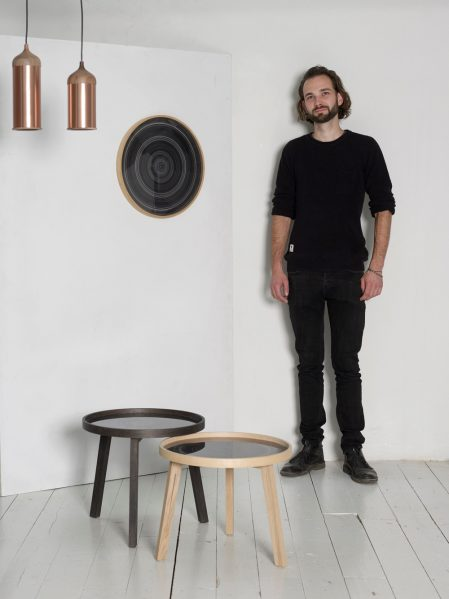 Steven Banken with Tannic Acid Coffee Table and Copper Lamps. Photo credit: Image Courtesy of Steven Banken