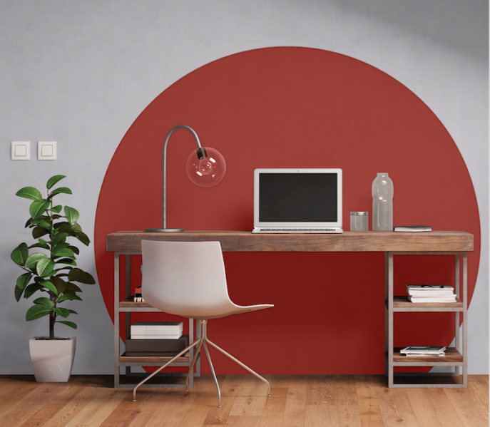 A home office is a perfect place to have fun with colour, from using multiple hues to creating patterns on the wall. Pictured on the wall of this study area is the SICO paint brand's Sun-dried Tomato red on a backdrop of Furtive Mauve grey.