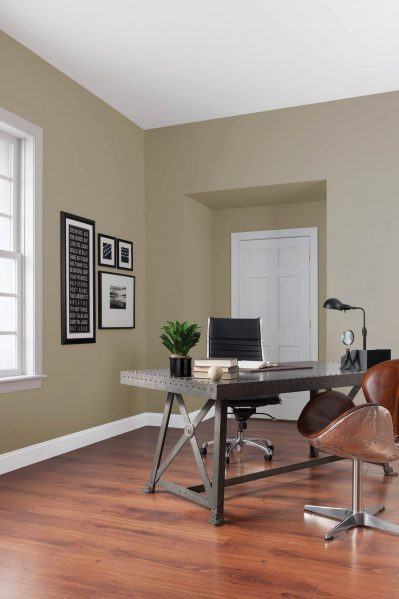 The soothing, down-to-earth colours of 2017 add depth to open spaces and coziness to smaller rooms. Pictured on the walls of this home office is Stone Harbor Greige (10YY 48/071   WN24) by CIL paint, a beachy driftwood neutral that promotes a sense of tranquility.