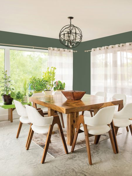 Earthy tones, such as Thyme Green (PPG1128-6) by the PPG Paints brand, are trending for 2017, emitting an air of stability and balance.