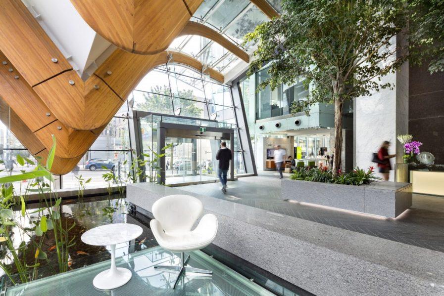 Telus Garden Lobby & Plaza, Henriquez Partners Architects. Photo courtesy of SBID.
