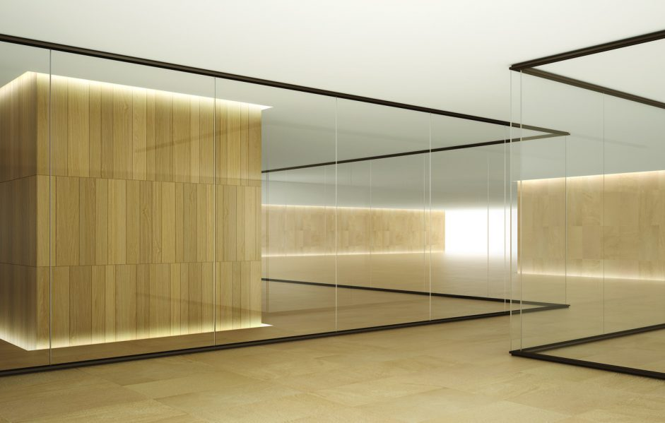 Focus demountable glass wall system.