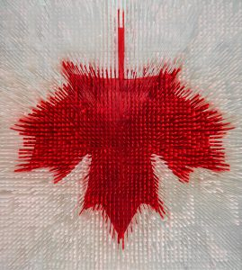 "A stunning tribute to our home and native land, this ceiling-situated flag at Canada House in Rio de Janeiro during the 2016 Summer Olympic and Paralympic Games was made from coloured strips of drop-cloth, sourced from Canadian Tire. Designer Deborah Moss and her team at Etobicoke's renowned Moss & Lam worked pro bono on this and other installations at Canada House because, in her own words: ""The Olympics are beyond other projects."" Photo by Nelson Kon."