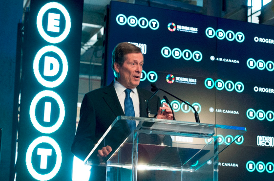 City of Toronto Mayor John Tory joined the speaker line up at the official EDIT press conference. Photo: Canadian Press