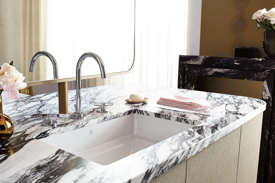The elegant, subtly ornamental sink is a highlight, image courtesy of DXV