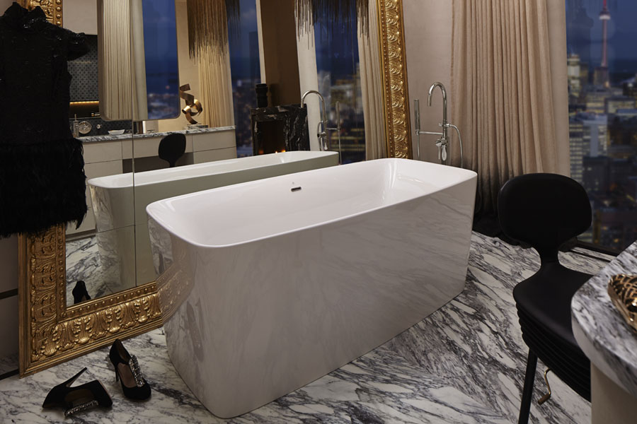 The sloping freestanding tub, image courtesy of DXV