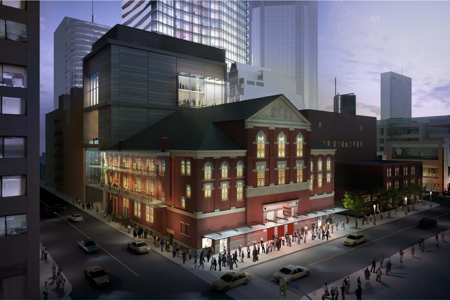 A rendering of the renovated Massey Hall, image by KPMB Architects via submission to the City of Toronto